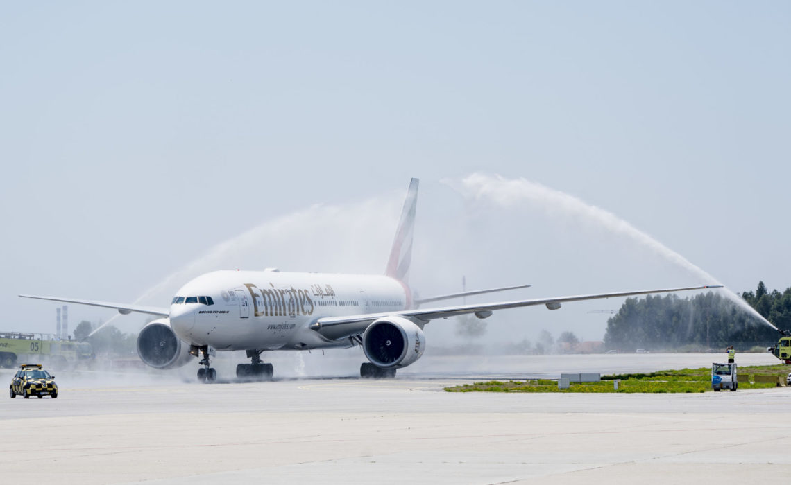 PRT- 02JUL2019 •	Emirates' Boeing 777-300ER is welcomed with a water cannon salute after touchdown at Porto Airport today for the airline's newest service launch.  Photo by Rui Coutinho